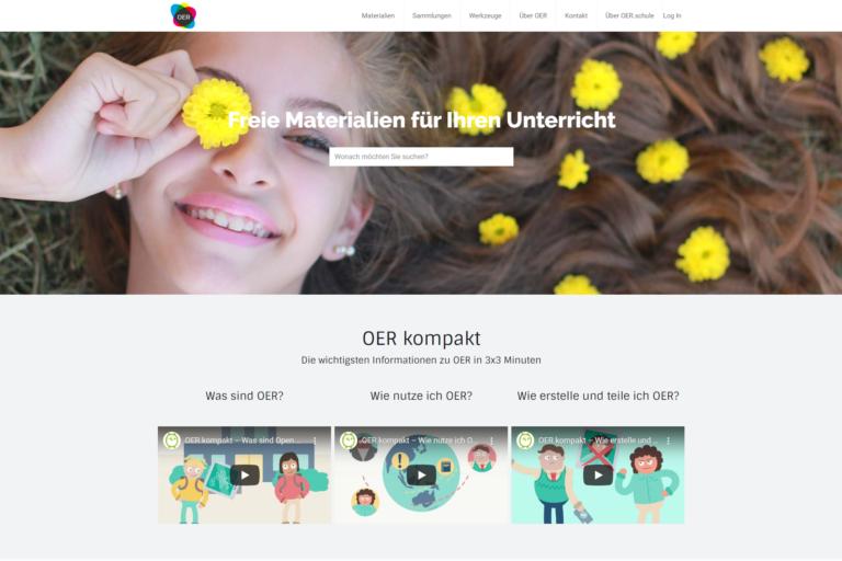 Screenshot Webseite OER-Schule (26.03.2020)