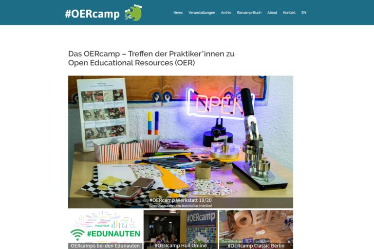 Screenshot Webseite #OERcamp (26.03.2020)