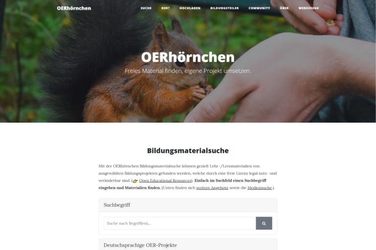 Screenshot Webseite OERhörnchen (26.03.2020)