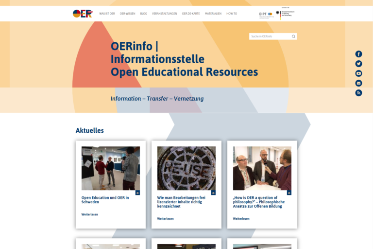 Screenshot Webseite OERinfo (26.03.2020)