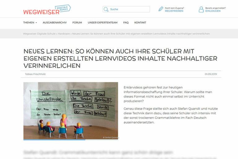 zum Beitrag Neues Lernen: So können auch ihre Schüler mit eigenen erstellten Lernvideos Inhalte nachhaltiger verinnerlichen von Tobias Frischholz