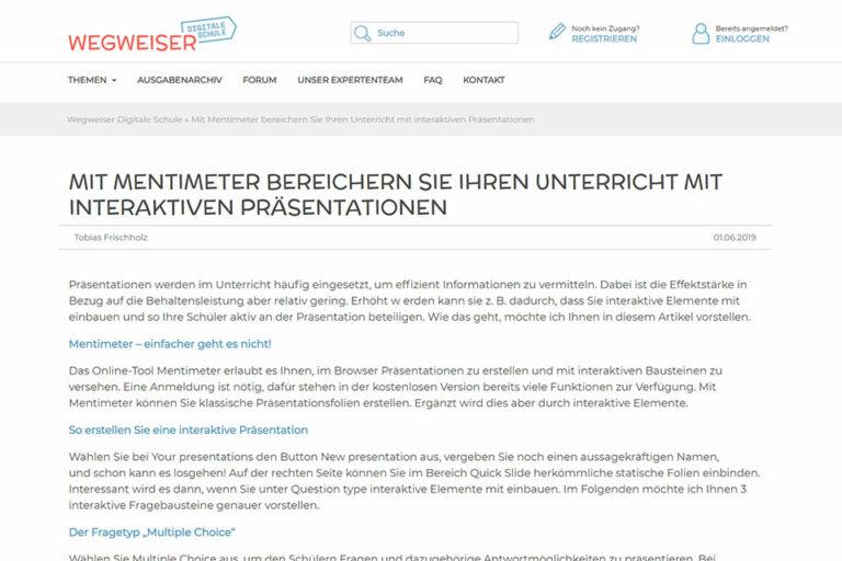 zum Beitrag Den Unterricht mit interaktiven Präsentationen bereichern von Tobias Frischholz