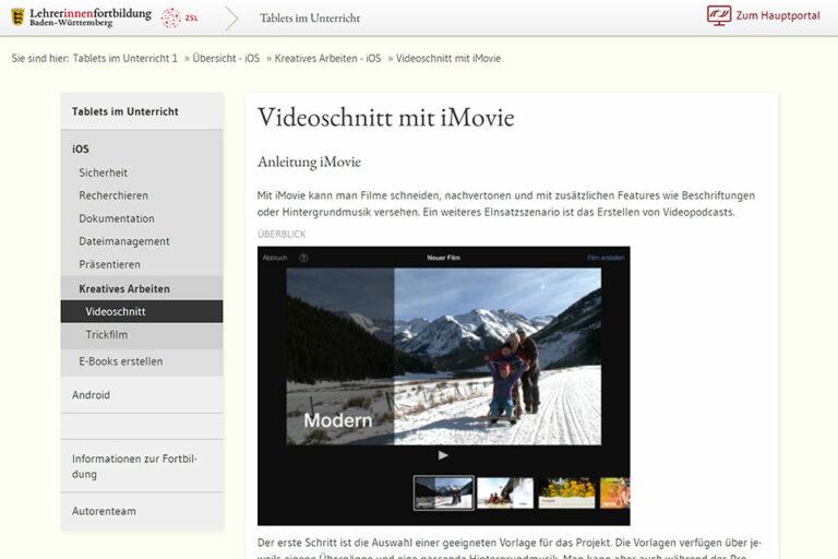 zum Beitrag Videoschnitt mit iMovie von Lehrerinnenforbildung Baden-Wüttemberg