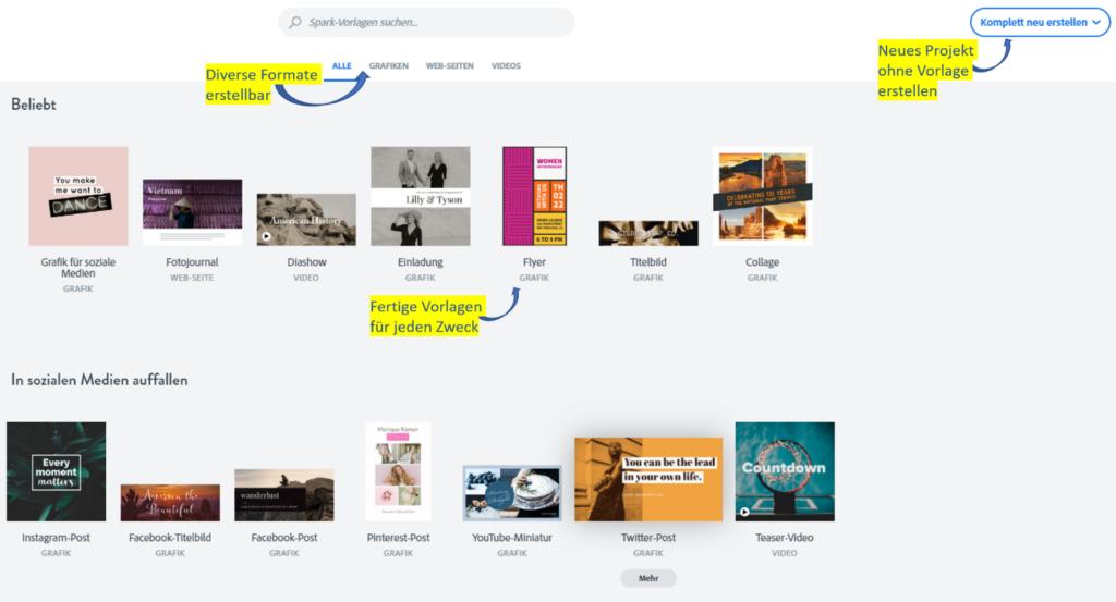 Screenshot der Vorlagenauswahl in Adobe Spark
