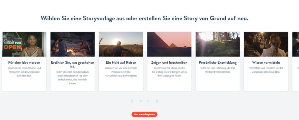 Screenshot Spark Storyvorlagen-Auswahl
