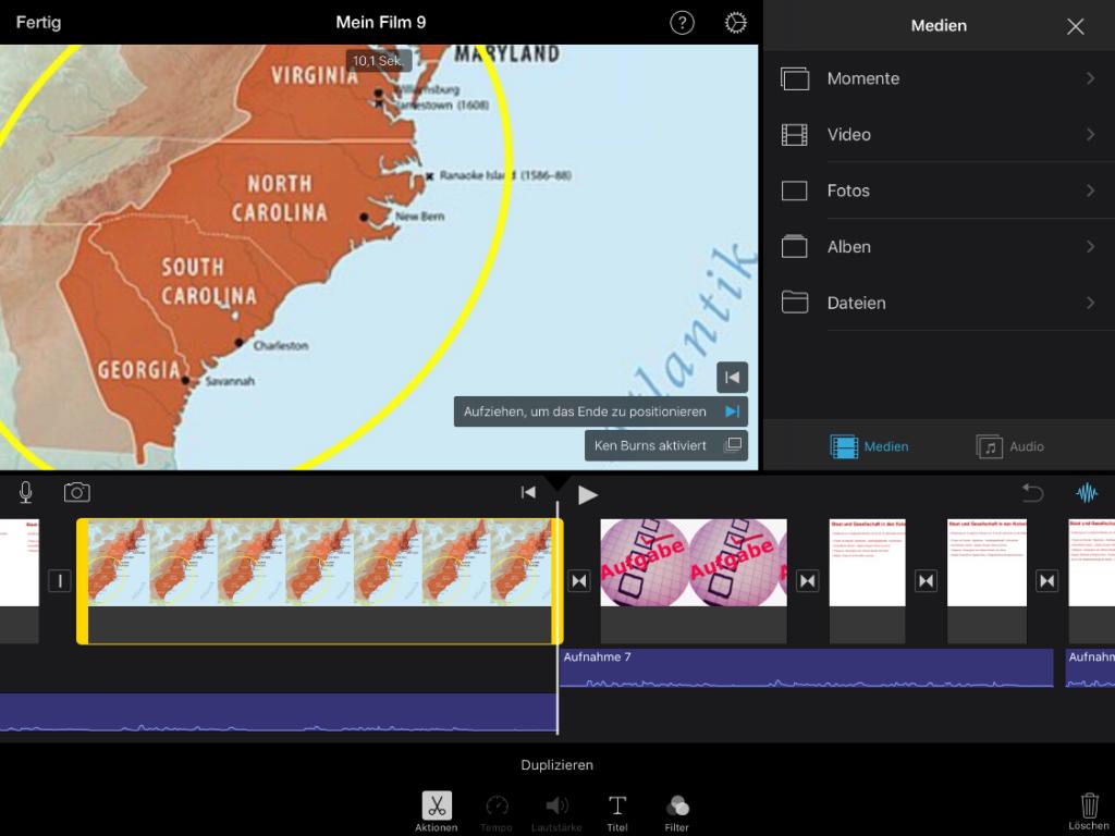 Einfache Bedienung: Ton- und Videospur sowie Bearbeitungsmöglichkeiten – alles auf einen Blick verfügbar und intuitiv bedienbar