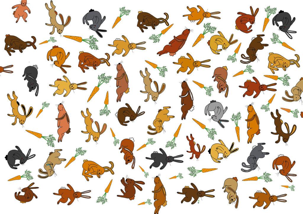 Hasen und Rüebli wild durcheinander