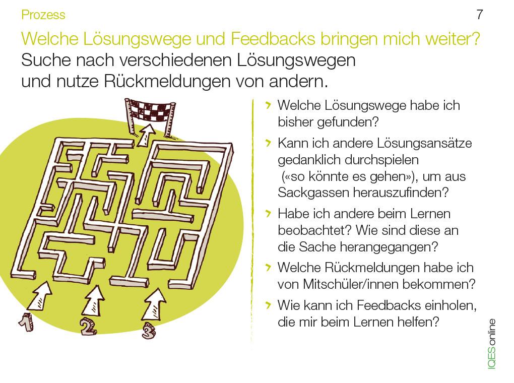 Lerncoachingkarte 7 - Welche Lösungswege und Feedbacks bringen mich weiter?