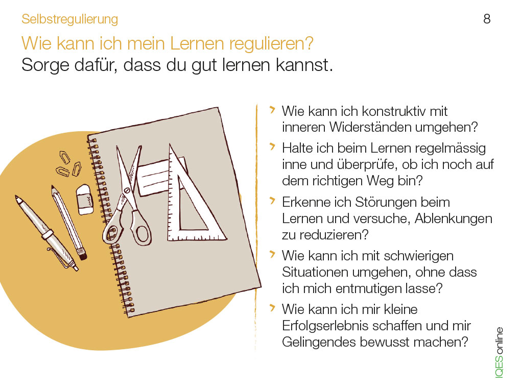 Lerncoachingkarte 8 - Wie kann ich mein Lernen regulieren?