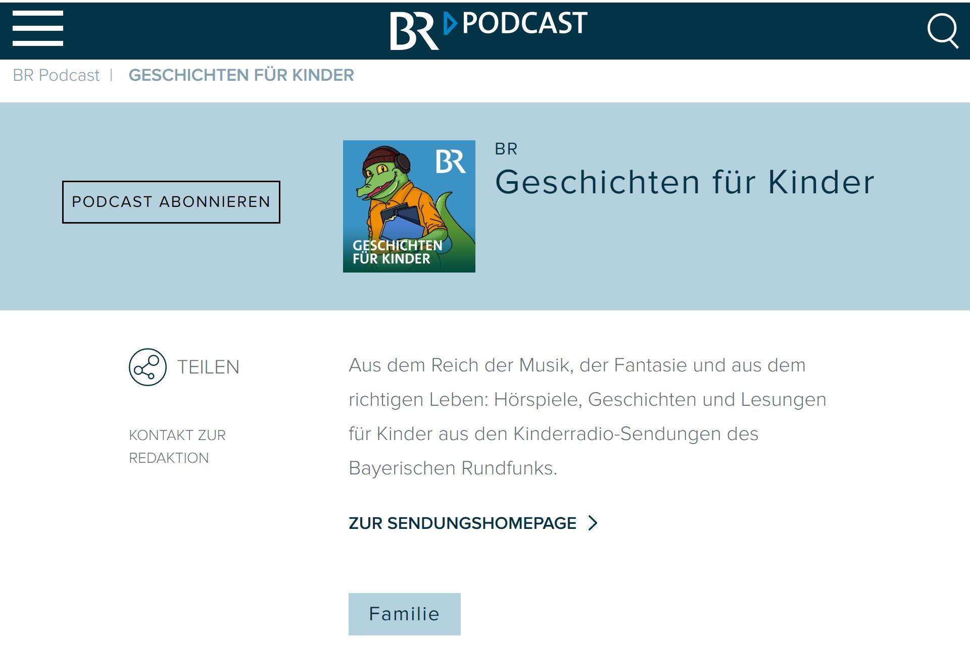 Screenshot Webseite BR Geschichten für Kinder (06.05.2020)