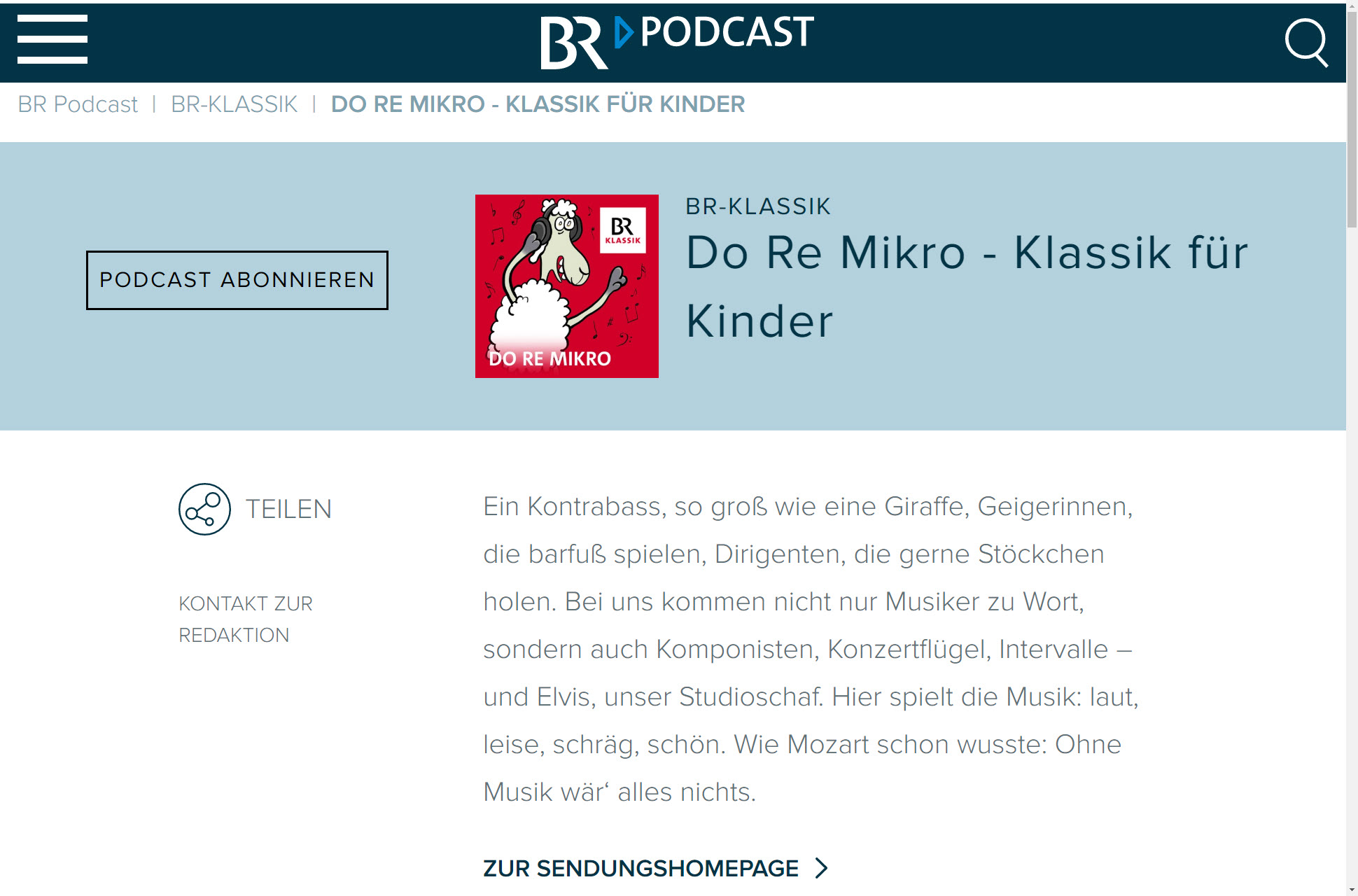 Screenshot Webseite BR Klassik (06.05.2020)