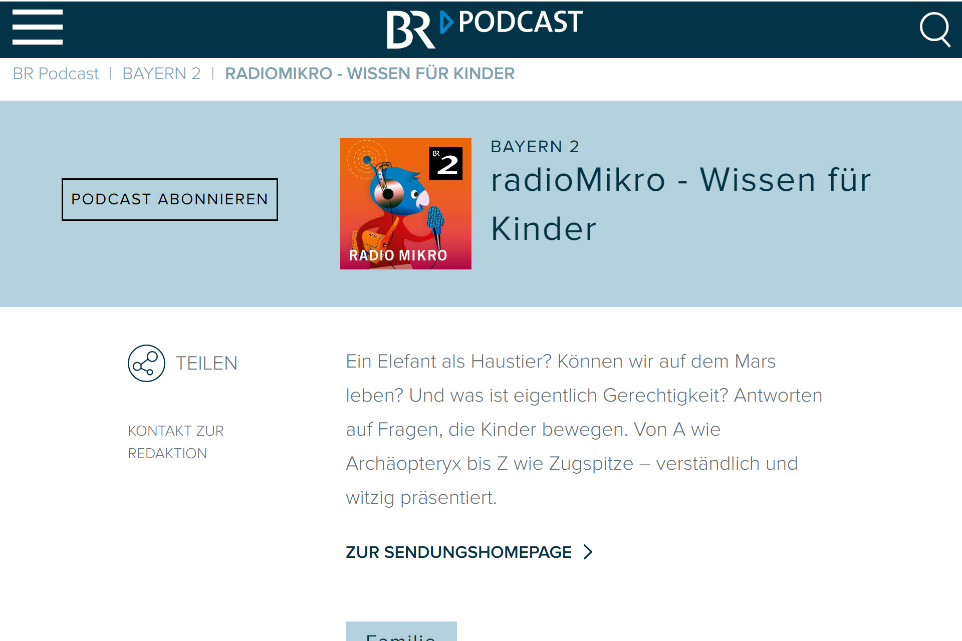 Screenshot Webseite BR radioMikro (06.05.2020)