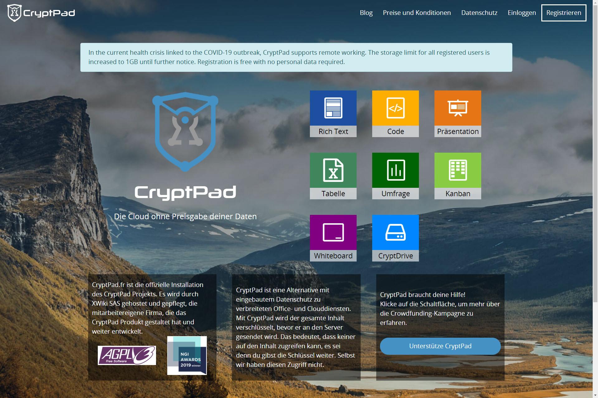 zur Zusammenarbeitsplattform Cryptpad