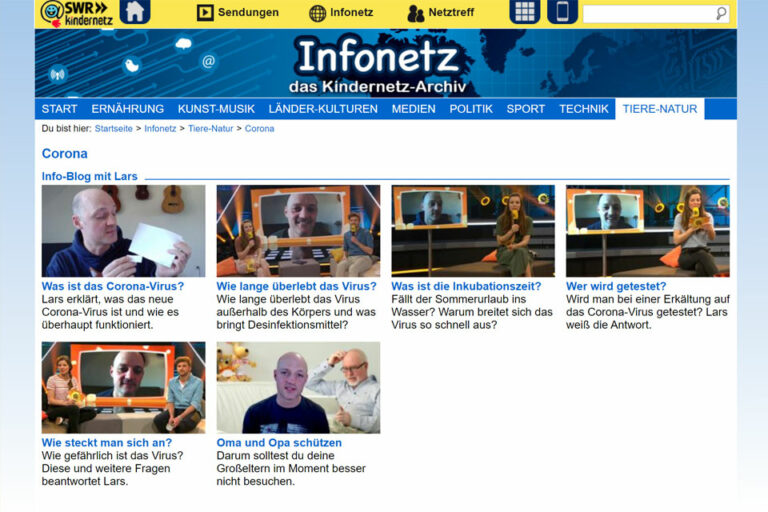 Screenshot Infonetz SWR Kindernetz Archiv (06.05.2020)