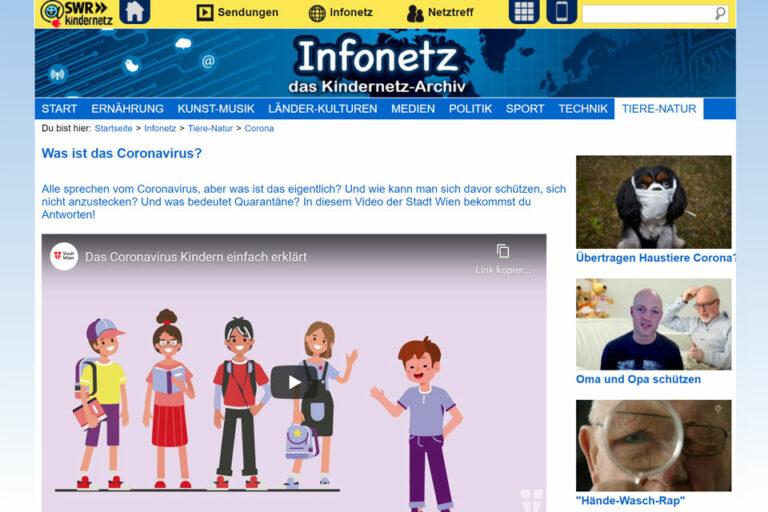 Screenshot Webseite SWR Kindernetz Was ist das Coronavirus? (06.05.2020)