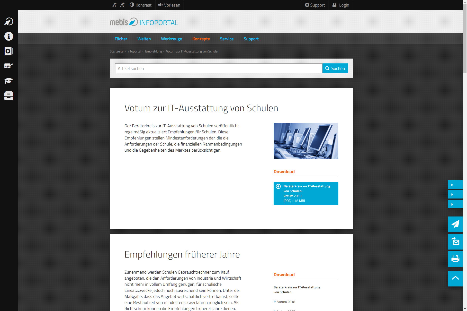 Screenshot Webseite Mebis Infoportal (16.04.2020)
