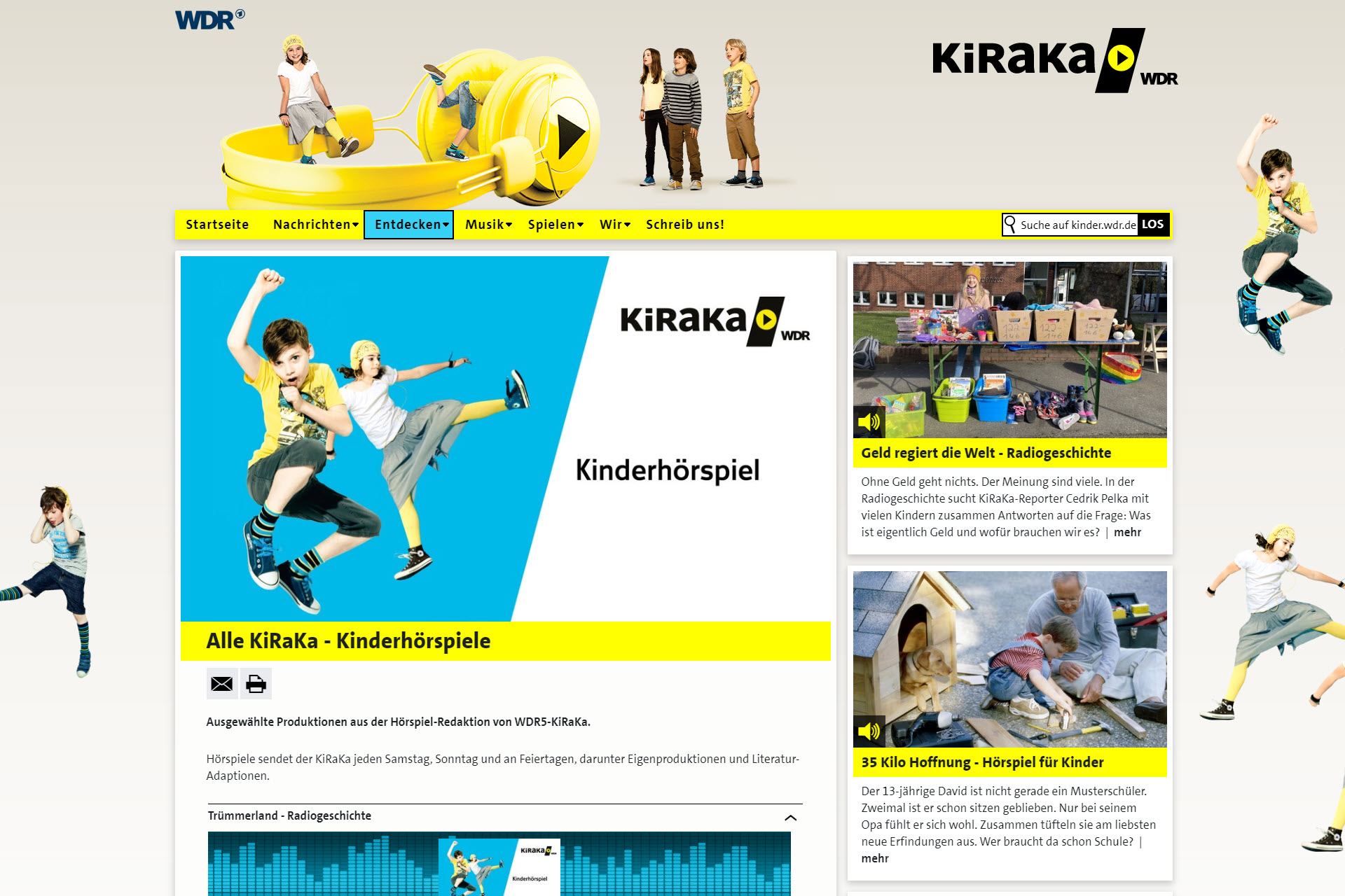 Screenshot WEbseite WDR kiraka (06.05.2020)
