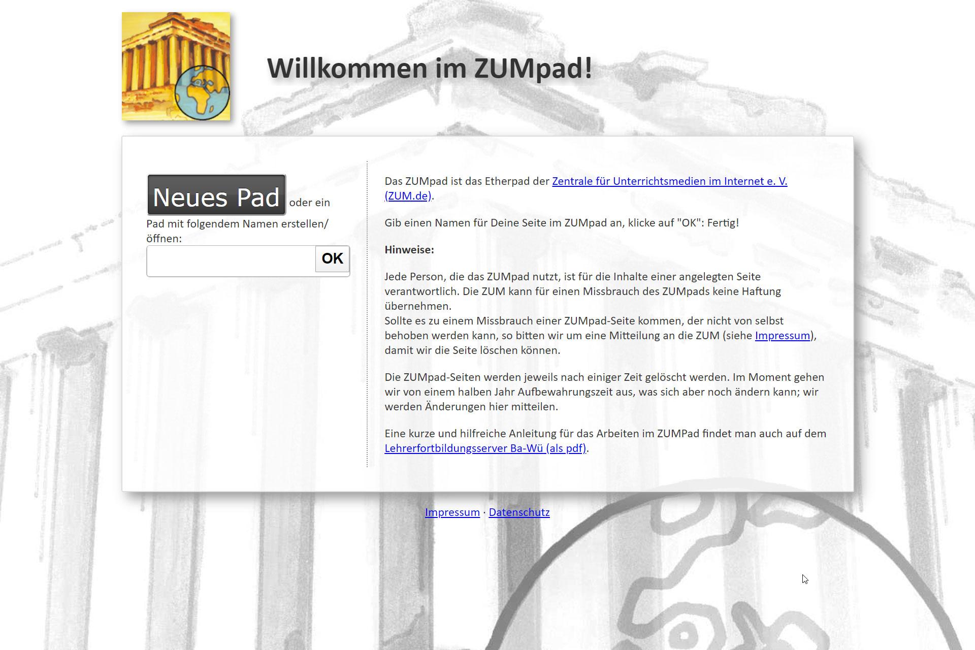 Screenshot Webseite ZUMpad (29.04.2020)