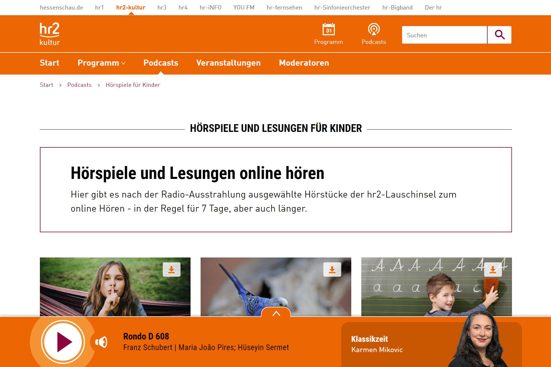 Screenshot Webseite hr2 Hörspiele (06.05.2020)