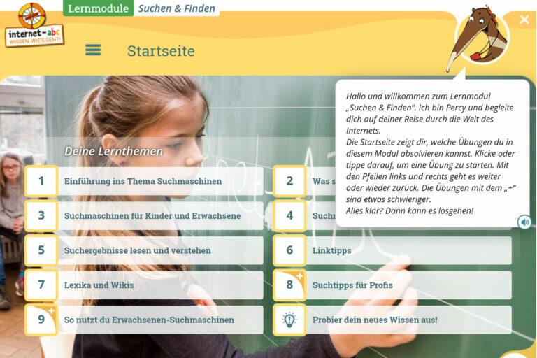 Screenshot Webseite internet-abc Lernthemen mit Percy