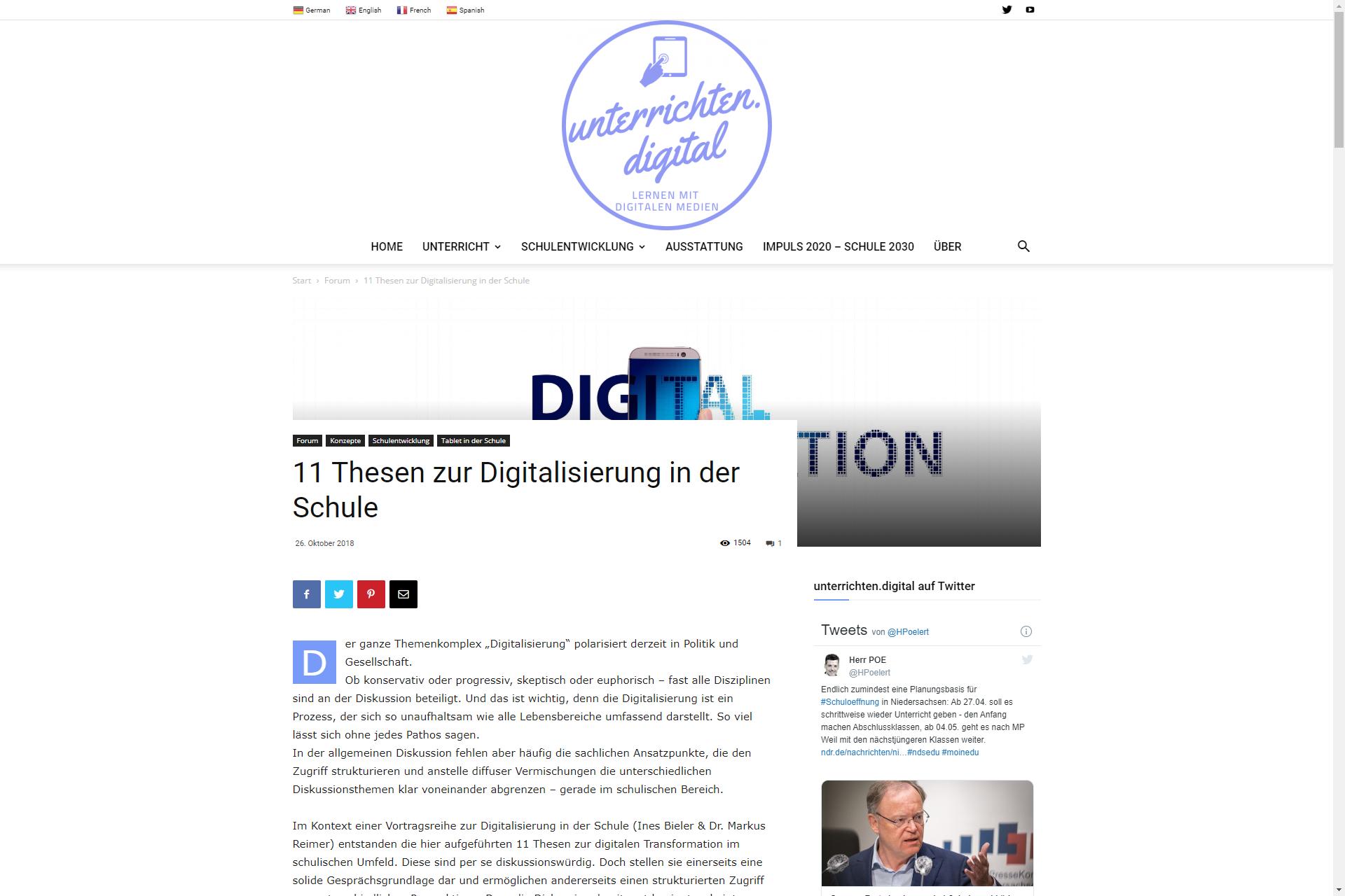 Screenshot Webseite unterrichten. digital: 11 Thesen zur Digitalisierung in der Schule (16.04.2020)