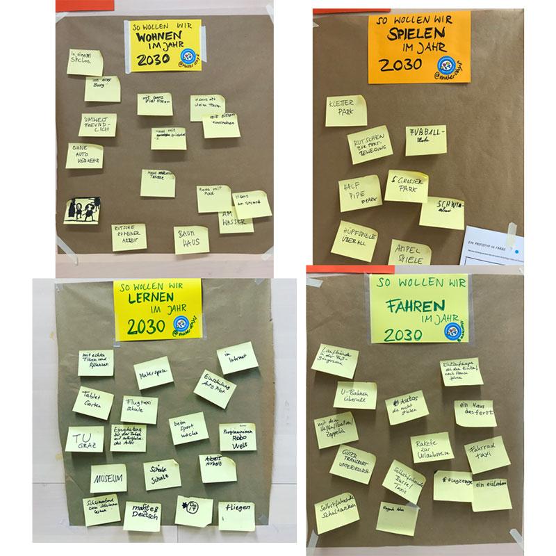 Post-it-Sammlung von Ideen für die make.city