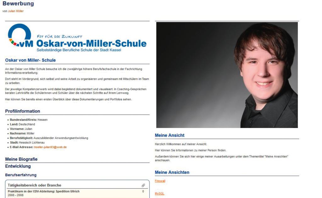 Screenshot Webseite Bewerbungsportfolio (12.05.2020)