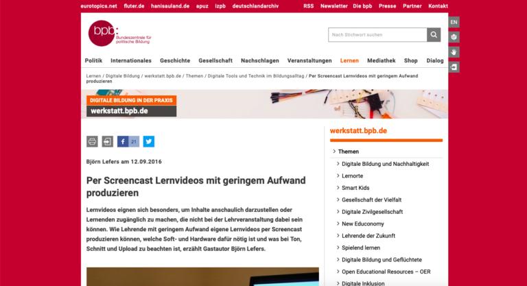 Screenshot Webseite bpb Bundeszentrale für politische Bildung Per Screencast Lernvideos mit geringem Aufwand produzieren (07.05.2020)