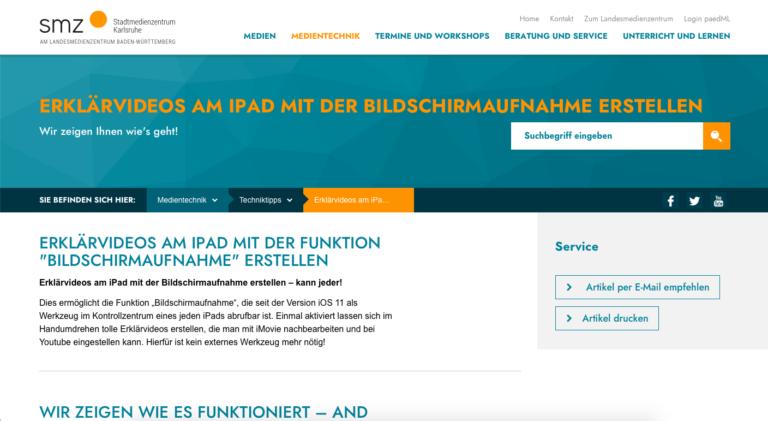 Screenshots Webseite smz Stadtmedienzentrum Karlsruhe Erklärvideos am iPad mit der Funktion «Bildschirmaufnahme» erstellen (07.05.2020)