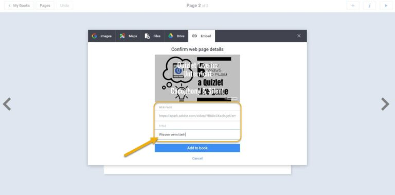 BookCreator Video Import Embed
