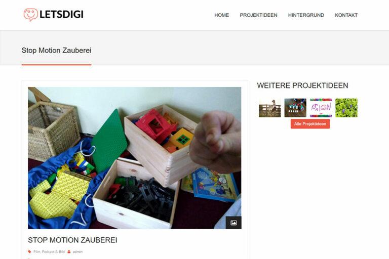 Screenshot Webseite Letsdigi Stop Motion Zauberei (14.05.2020)