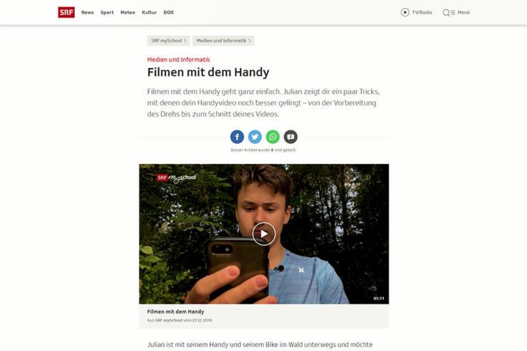 Screenshot Webseite SRF: Filmen mit Handy (14.05.2020)