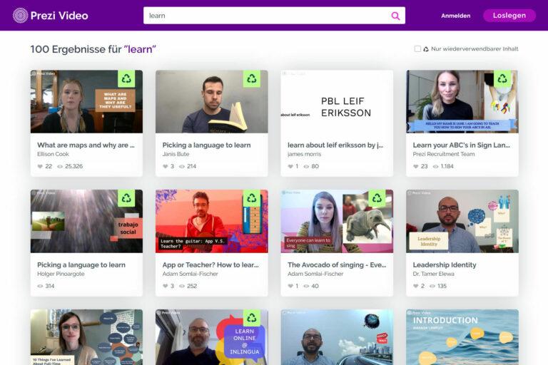 Screenshot Webseite Prezi Video Lehrpersonen (14.05.2020)