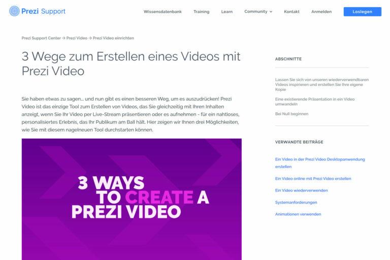 Screenshot Webseite Prezi Video 3 Wege zum Erstellen eines Videos mit Prezi Video (14.05.2020)