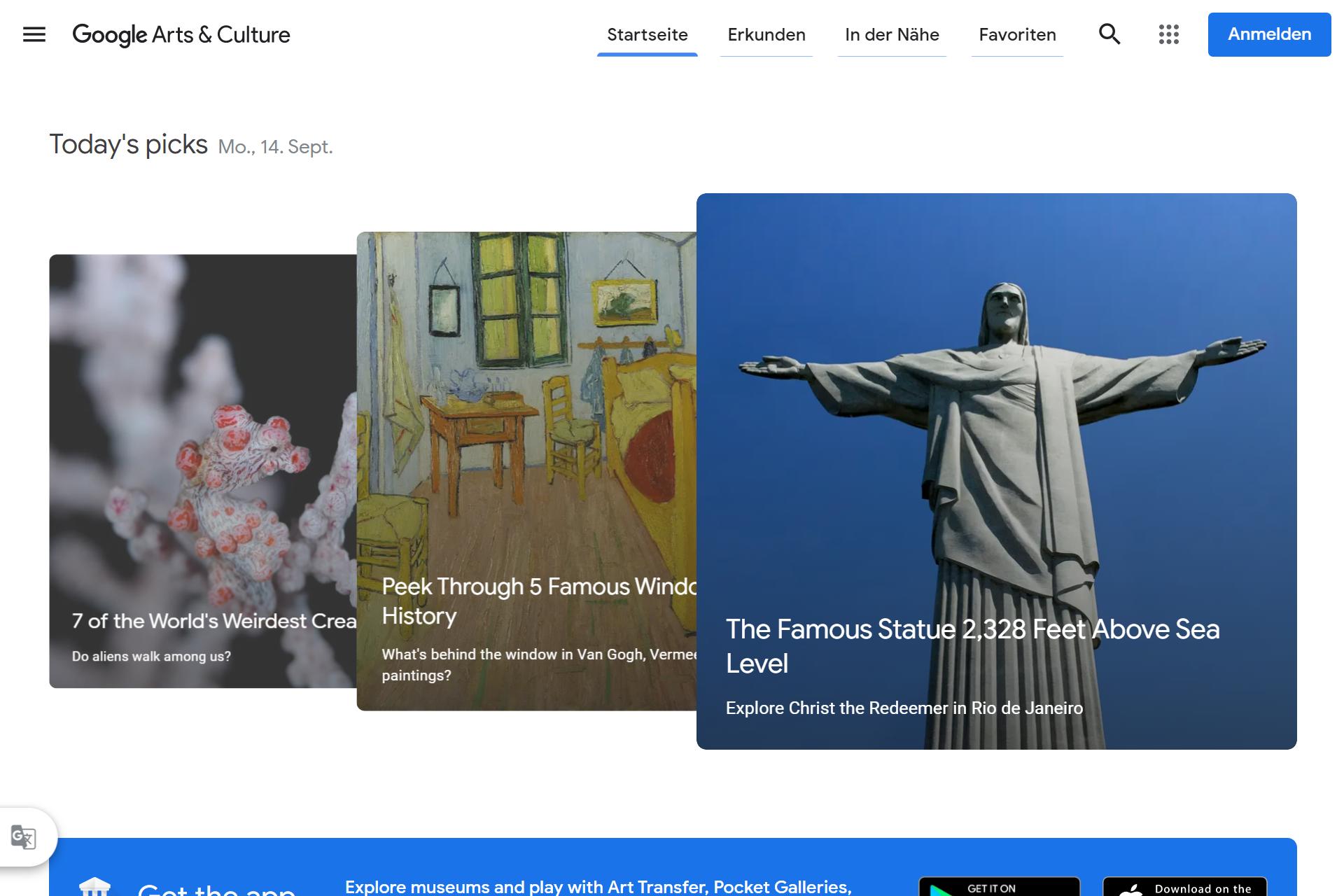 Screenshot Google Arts & Culture (14.09.2020)
