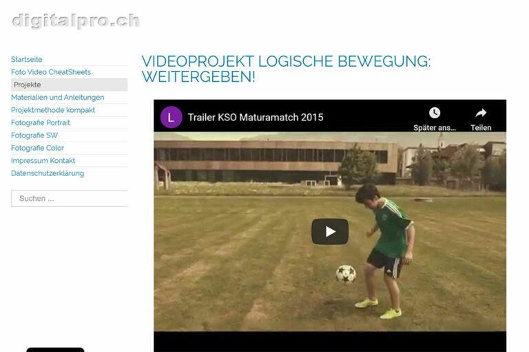 Screenshot Webseite digitalpro Videoprojekt Logische Bewegung: Weitergeben (14.05.2020)