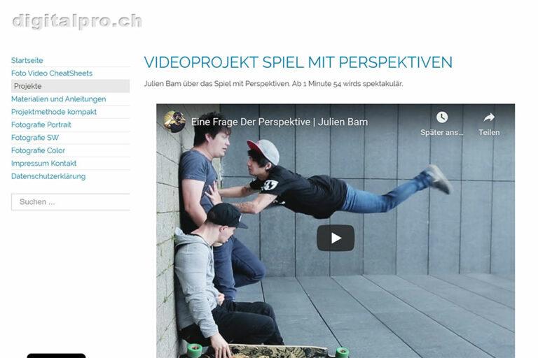 Screenshot Webseite digitalpro Videoprojekt Spiel mit Perspektiven (14.05.2020)