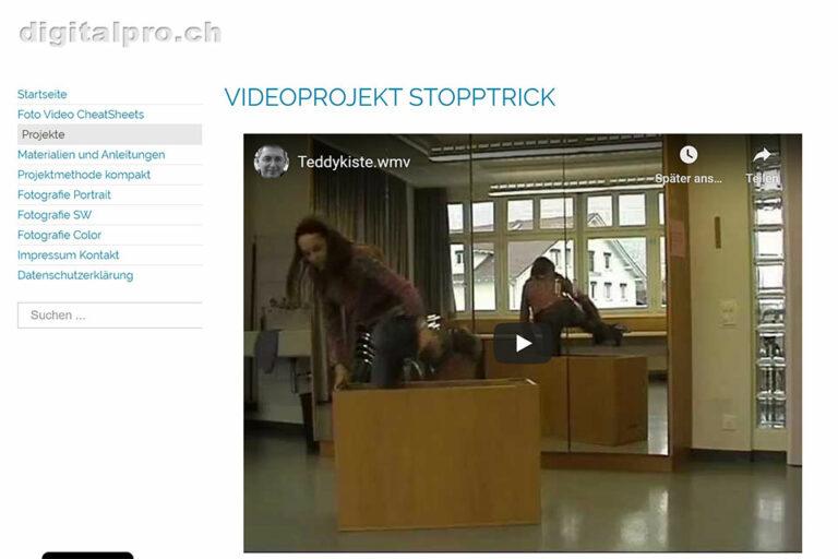 Screenshot Webseite digitalpro Videoprojekt Stopptrick (14.05.2020)