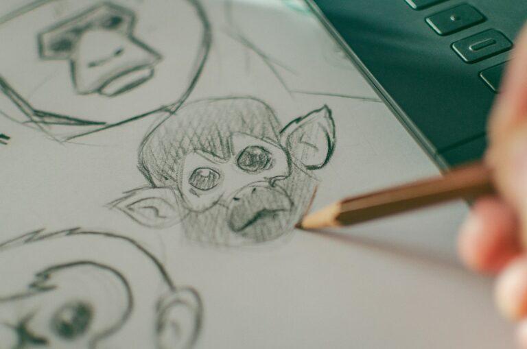 Skizzen von einem Affenkopf