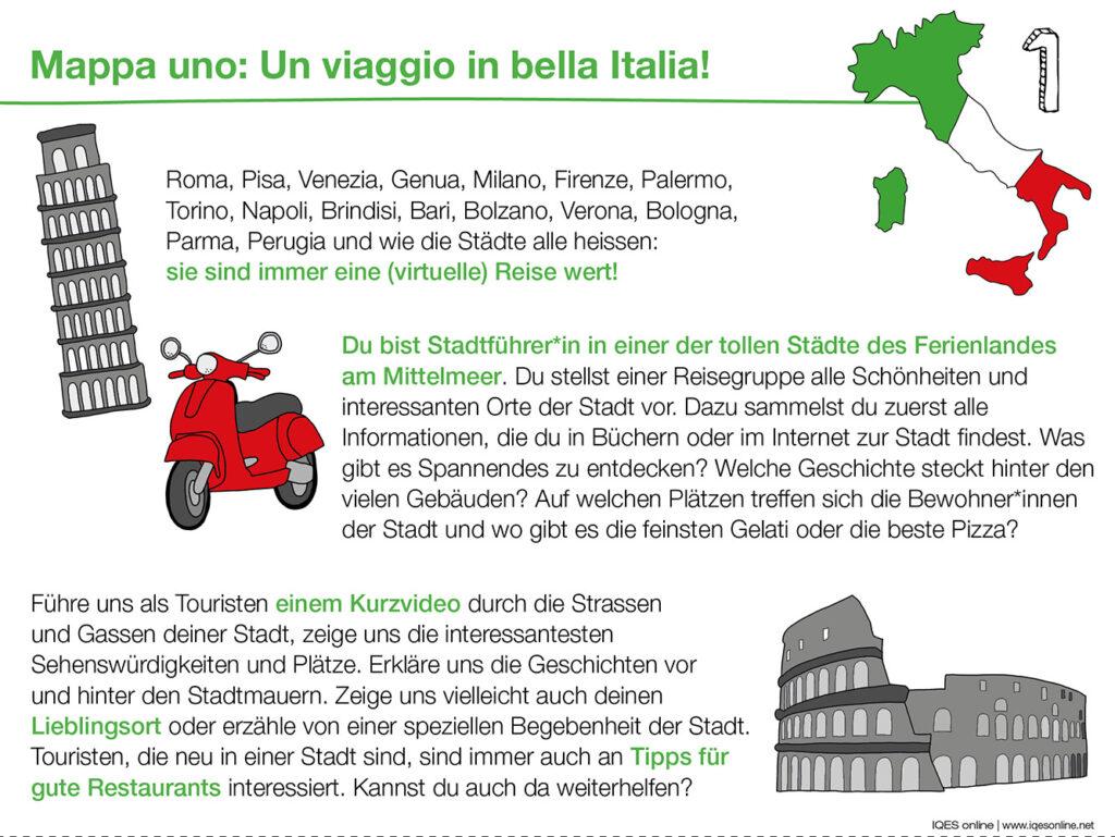 Aufgabenkarte 1 zu Bella Italia: Reiseführer Italien