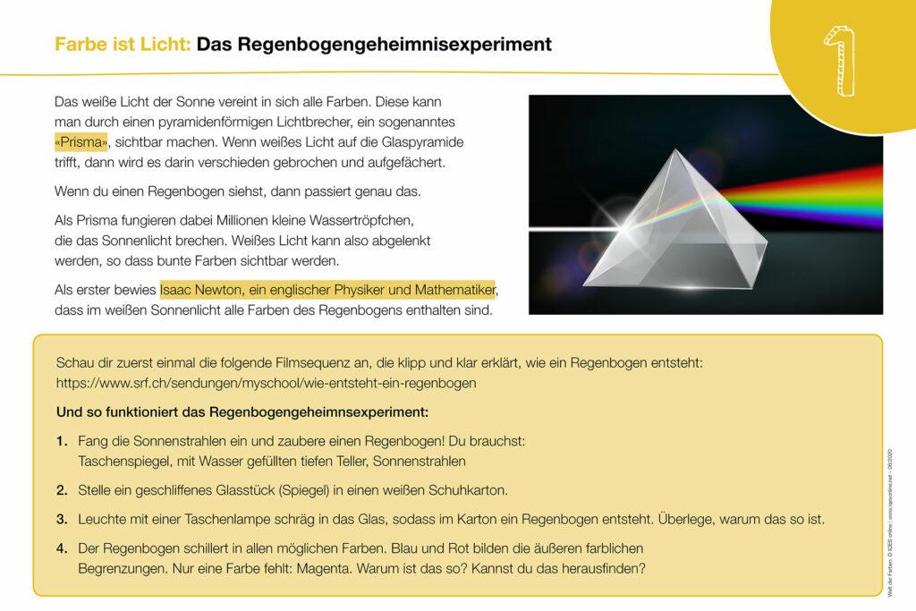 Welt der Farben Karte 1: Das Regenbogengeheimnisexperiment (Prisma)