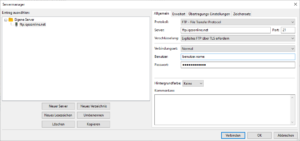 Servermanager FileZilla auf Windows