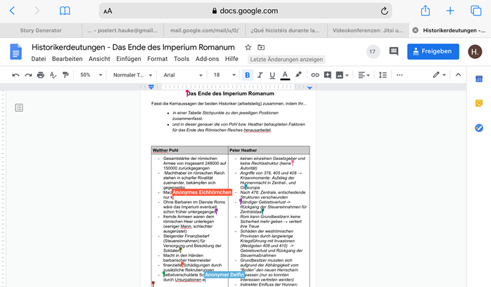 Kollaboratives Schreiben Google Docs Beispielbild